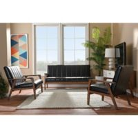 Baxton Studio Nikko 3-Piece Living Room Set in Dark Brown