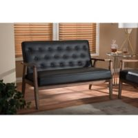 Baxton Studio Sorrento Faux Leather Love Seat in Brown