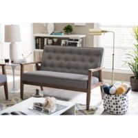 Baxton Studio Sorrento Love Seat in Grey