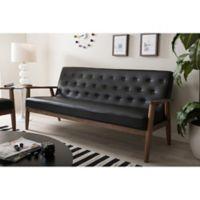 Baxton Studio Sorrento Faux Leather Sofa in Black