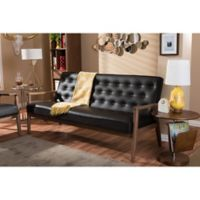 Baxton Studio Sorrento Faux Leather Sofa in Brown