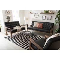 Baxton Studio Sorrento Faux Leather 3-Piece Sofa Set in Black
