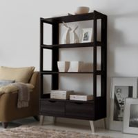 Baxton Studio Kalien Large Bookcase in Dark Brown