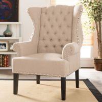 Baxton Studio Knuckey Wingback Arm Chair in Beige