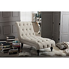 Baxton studio layla button tufted chaise lounge bed bath for Button tufted chaise lounge