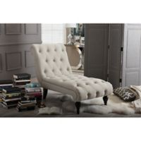 Baxton Studio Layla Button-Tufted Chaise Lounge in Light Beige