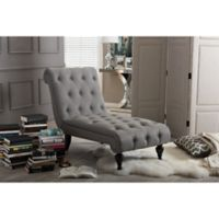 Baxton Studio Layla Button-Tufted Chaise Lounge in Grey