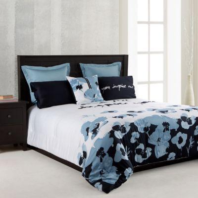 kensie blue poppy king comforter in blue