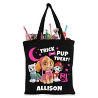 Personalized Paw Patrol Skye and Pups Trick-Or-Treat Bag in Black