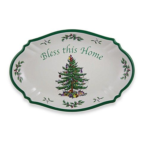 Spode christmas tree bless this home tray bed bath beyond Bless home furniture outlet