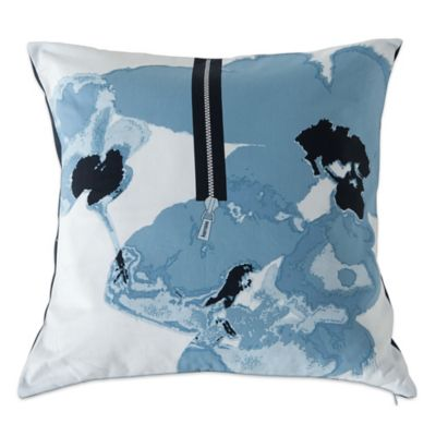 kensie blue poppy square throw pillow in blue - Blue Decorative Pillows