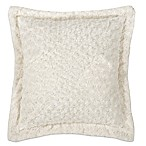 Kensie Blue Poppy Rose Fur Square Throw Pillow in Cream