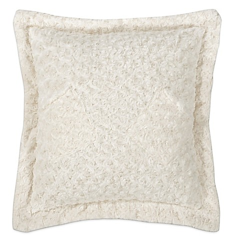 Buy Kensie Blue Poppy Rose Fur Square Throw Pillow in Cream from Bed Bath & Beyond