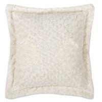 Kensie Blue Poppy Rose Fur Square Throw Pillow in Cream