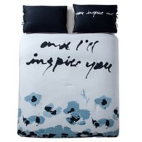 Kensie Blue Poppy 3-Piece Full/Queen Duvet Cover Set in Blue