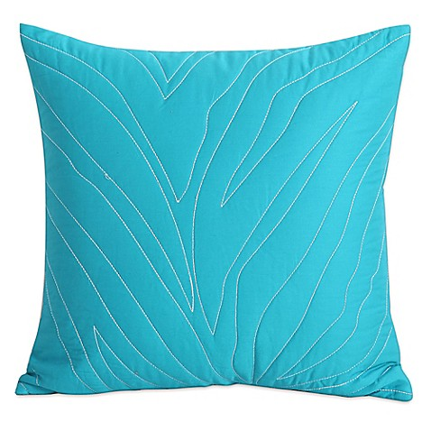 Kensie Kara Zebra Square Throw Pillow in Turquoise - Bed Bath & Beyond