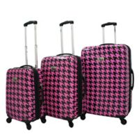Chariot Bird Houndstooth 3-Piece Spinner Suitcase Set in Fuchsia