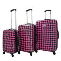 Chariot Bird Houndstooth 3-Piece Spinner Suitcase Set in Fuchsia