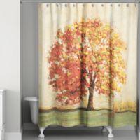 Autumn Tree Curtain in Orange/Green