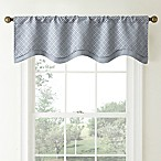 Waterford® Linens Campbell Double Scalloped Window Valance in Dusty Blue