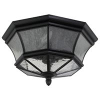 Quoizel Newbury Outdoor Flush Mount Ceiling Light in Mystic Black