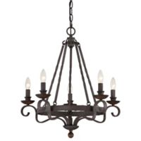 Quoizel Nobel 5-Light Ceiling-Mount Chandelier in Rustic Black