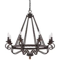 Quoizel Nobel 8-Light Ceiling-Mount Chandelier in Rustic Black