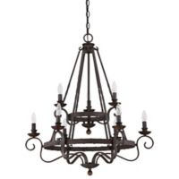 Quoizel Nobel 9-Light Ceiling-Mount Chandelier in Rustic Black