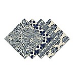 Assorted Printed Cotton Napkins in Indigo (Set of 4)