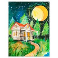 GreenBox Art Night Cabin 18-Inch x 24-Inch Wheatpaste Wall Art