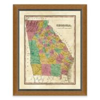 Framed Giclée Map of Georgia Wall Art