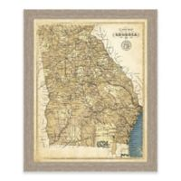 Framed Giclée Map of Georgia Canvas Wall Art in Sepia