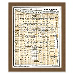 Framed Giclée Map of Savannah, Georgia Canvas Wall Art