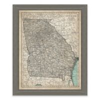 Framed Giclée Map of Georgia Canvas Wall Art