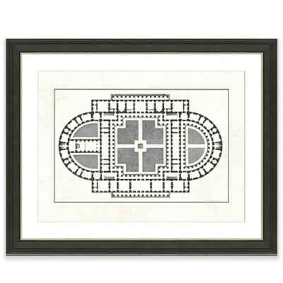 Framed Giclée Floor Plan Print II Wall Art