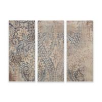 Madison Park Weathered Damask Walls Print on Linen Wall Art in Blue (Set of 3)