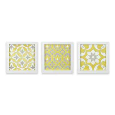 Madison Park Tuscan Tiles Framed Gel Coated Paper Wall Art in Yellow (Set of 3)
