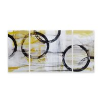 Madison Park Lunar Glow Gel Coated Canvas Wall Art in Yellow (Set of 3)