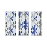 INK+IVY Navy Sierra Gel Coat Printed Canvas Wall Art in Blue (Set of 3)