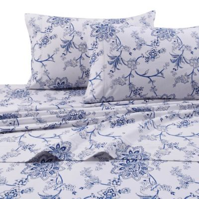 Floral Print 200 GSM Deep Pocket Queen Flannel Sheet Set In Blue/White