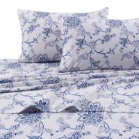Floral Print 200 GSM Deep-Pocket King Flannel Sheet Set in Blue/White