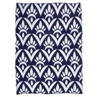 Sleeping Partners Damask Knit Throw Blanket in Navy