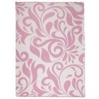 Sleeping Partners Swirl Vine Knit Throw Blanket in Pink
