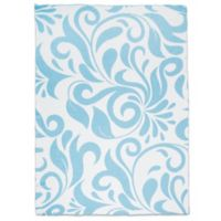 Sleeping Partners Swirl Vine Knit Throw Blanket in Blue