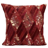 Mina Victory™ Leather Hide Square Basket Weave Pillow in Burgundy