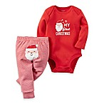 carter's® Size 3M 2-Piece  My First Christmas  Long Sleeve Bodysuit and Pant Set in Red