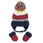 Toby™ Newborn Rugby Collegiate Striped Hat and Mitten Set