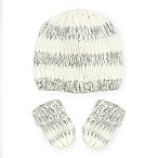 Toby™ Chunky Pretwist Striped Newborn 2-Piece Hat and Mitten Set in Grey