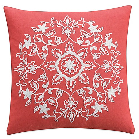 KAS Casbah 16-Inch Square Throw Pillow in Coral - Bed Bath & Beyond