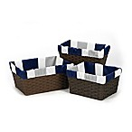 Sweet Jojo Designs Navy and Grey Stripe Basket Liner (Set of 3)